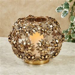 Charlisse Floral Candleholder Aged Gold Large