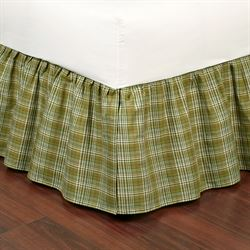 Green Plaid Gathered Bedskirt