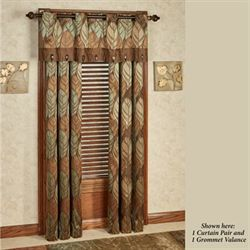 Urban Leaves II Factory Second Grommet Curtain Pair Multi Warm 84 x 84