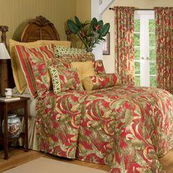 Captiva Tropical Bedspread Dark Red