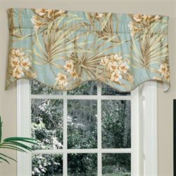 Martinique Shaped Valance Turquoise 52 x 16