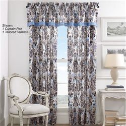 Santorini Indigo Tailored Curtain Pair 82 x 84