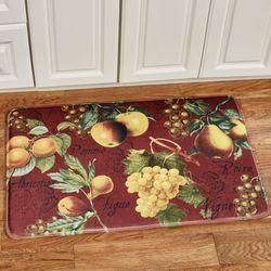 Botanical Fruit Cushioned Rectangle Mat Burgundy 35 x 23