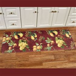 Botanical Fruit Cushioned Runner Mat Burgundy 55 x 20