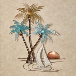 Sunset Paradise Tropical Palm Tree Metal Wall Art