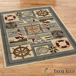 Maritime Rectangle Rug Steel Blue