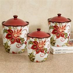 Spice Flowers Kitchen Canisters Ivory Three Piece Set