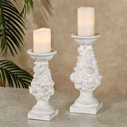 Shell Candleholders Whitewash Set of Two