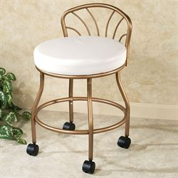 Flare Back Powder Coat Vanity Chair Champagne Bronze
