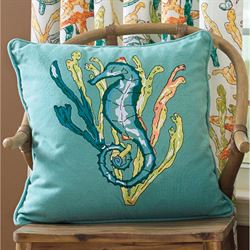 Tidal Pool Seahorse Pillow Multi Bright 20 Square