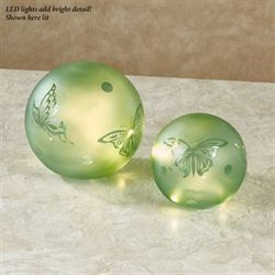 Butterfly LED Glass Globes Green Set of Two