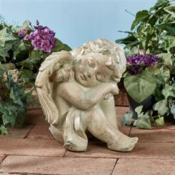 Sleeping Cherub Sculpture Taupe
