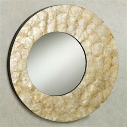 Free shipping on home bargains touch of class chappel round wall mirror ivory capiz gumiabroncs Choice Image