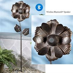 Flower Bluetooth Speaker Garden Stake Bronze