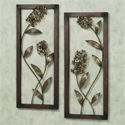 Hydrangea Glow Wall Panel Set Satin Gold Set of Two