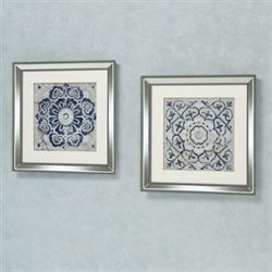 Medallion Framed Wall Art Blue Set of Two