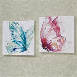 Watercolor Butterfly Canvas Wall Art Multi Bright Set of Two