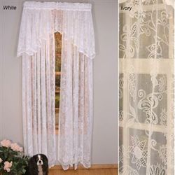 Rose Lace Scalloped Curtain Panel