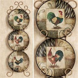 Rooster Montage Plate Set Beige Set of Three
