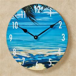 Palm Tree Shadows Wall Clock Blue