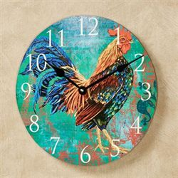 Rainbow Rooster Wall Clock Multi Bright