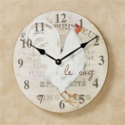 Le Coq Rooster Wall Clock Ivory