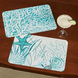 Coral Life Placemats Aqua Set of Four