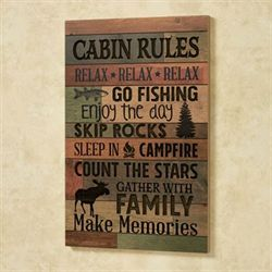 Cabin Rules Wall Plaque Multi Earth