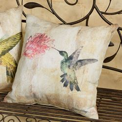 Hummingbird Floral II Pillow Multi Pastel 18 Square