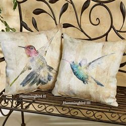 Graceful Hummingbird II Pillow Multi Pastel 18 Square