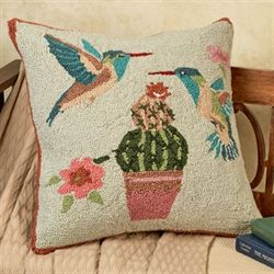 Hummingbirds and Cactus Pillow Multi Cool 18 Square