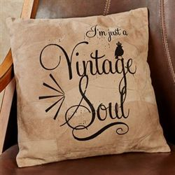 Vintage Soul Suede Leather Accent Pillow Multi Earth 15.5 Sq