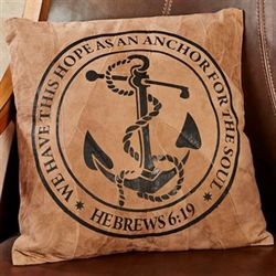 Hope Anchor Suede Leather Decorative Pillow Multi Earth 15.5 Sq