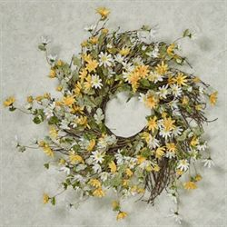 Cheerful Daisy Floral Wreath Multi Warm