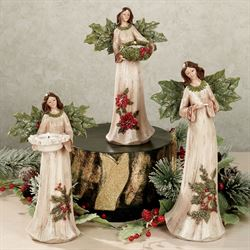 Winterberry Angel Figurine Set Red Set of Three