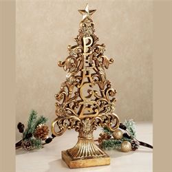 Christmas Peace Tabletop Accent Aged Gold