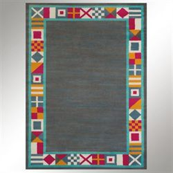 Signal Border Rectangle Rug Charcoal