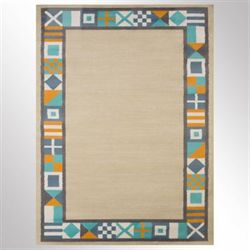 Signal Border Rectangle Rug Natural