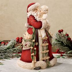 Santa with Child Figurine Red