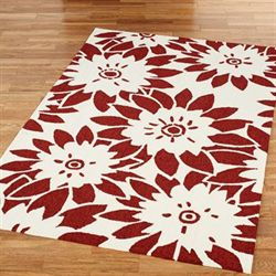 Garden Canvas Rectangle Rug Dark Red