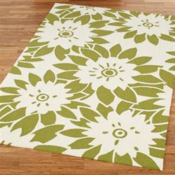 Garden Canvas Rectangle Rug Lime
