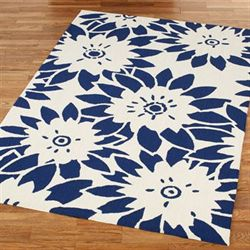 Garden Canvas Rectangle Rug Royal Blue