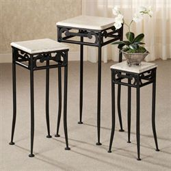 Carleton Pedestal Set Black Set of Three