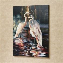 Evening Egrets Canvas Wall Art Multi Warm