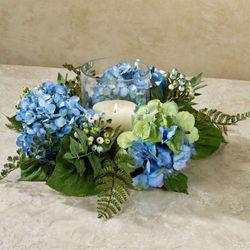 Hydrangea Candle Ring Centerpiece Blue