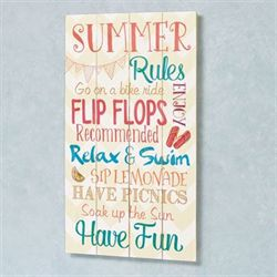 Summer Rules Wall Plaque Multi Bright