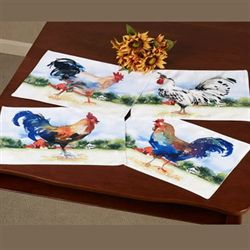 Farmland Rooster Placemats Multi Warm Four Piece Set
