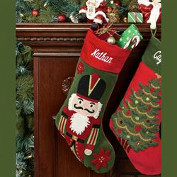 Tufted Nutcracker Stocking Green