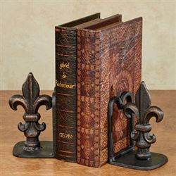 Royal Fleur de Lis Bookends Black Pair