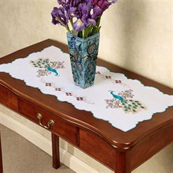 Pretty Peacock Table Runner Multi Pastel 16 x 36